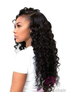 Long Curly Weave With Side Part