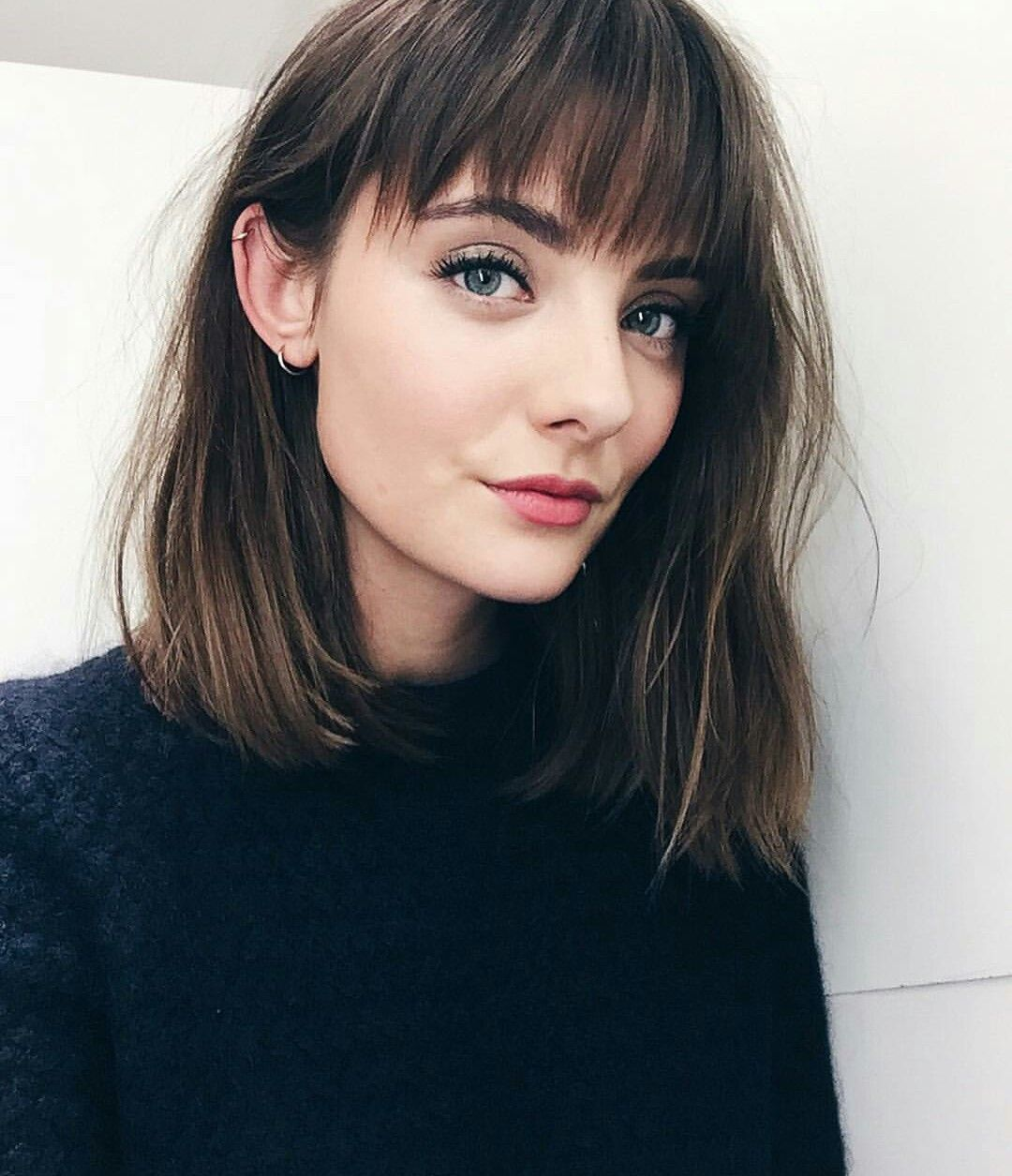 Brunette Bob With Bangs