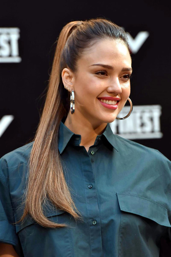 Jessica Alba High Ponytail Hair