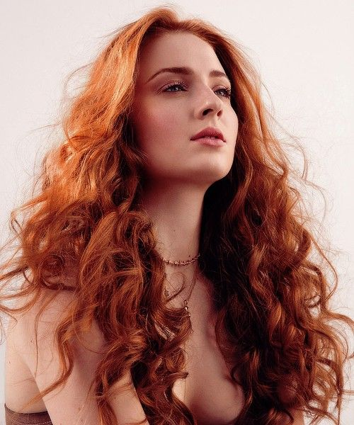 Long Curly Hair With Auburn Red