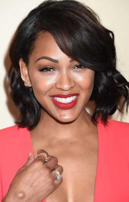 Side Swept Wavy Short Hair Meagan Good